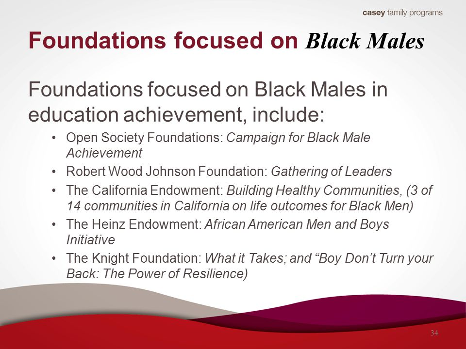 Foundations focused on Black Males Foundations focused on Black Males in education achievement, include: Open Society Foundations: Campaign for Black
