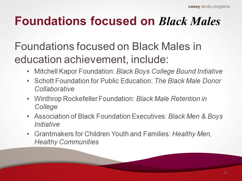 Foundations focused on Black Males Foundations focused on Black Males in education achievement, include: Mitchell Kapor Foundation: Black Boys College Bound Initiative Schott Foundation for Public Education: The Black Male Donor Collaborative Winthrop Rockefeller Foundation: Black Male Retention in College Association of Black Foundation Executives: Black Men & Boys Initiative Grantmakers for Children Youth and Families: Healthy Men, Healthy Communities 35