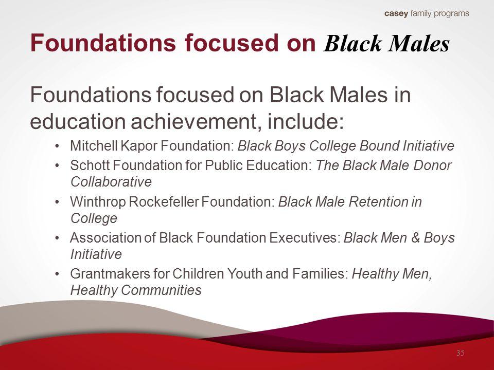 Foundations focused on Black Males Foundations focused on Black Males in education achievement, include: Mitchell Kapor Foundation: Black Boys College