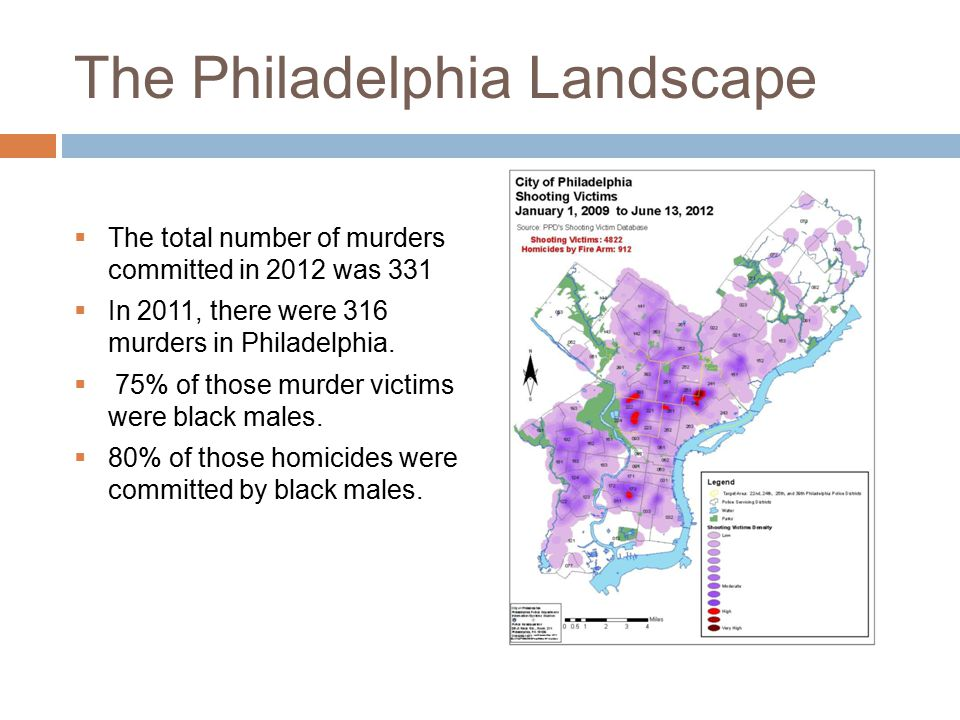 The Philadelphia Landscape  The total number of murders committed in 2012 was 331  In 2011, there were 316 murders in Philadelphia.