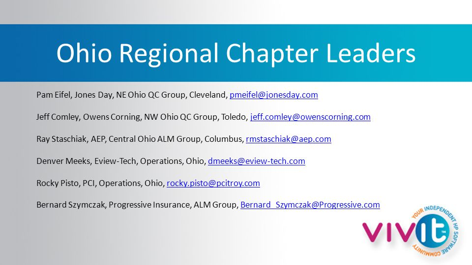 Ohio Regional Chapter Leaders Pam Eifel, Jones Day, NE Ohio QC Group, Cleveland, pmeifel@jonesday.compmeifel@jonesday.com Jeff Comley, Owens Corning, NW Ohio QC Group, Toledo, jeff.comley@owenscorning.comjeff.comley@owenscorning.com Ray Staschiak, AEP, Central Ohio ALM Group, Columbus, rmstaschiak@aep.comrmstaschiak@aep.com Denver Meeks, Eview-Tech, Operations, Ohio, dmeeks@eview-tech.comdmeeks@eview-tech.com Rocky Pisto, PCI, Operations, Ohio, rocky.pisto@pcitroy.comrocky.pisto@pcitroy.com Bernard Szymczak, Progressive Insurance, ALM Group, Bernard_Szymczak@Progressive.comBernard_Szymczak@Progressive.com