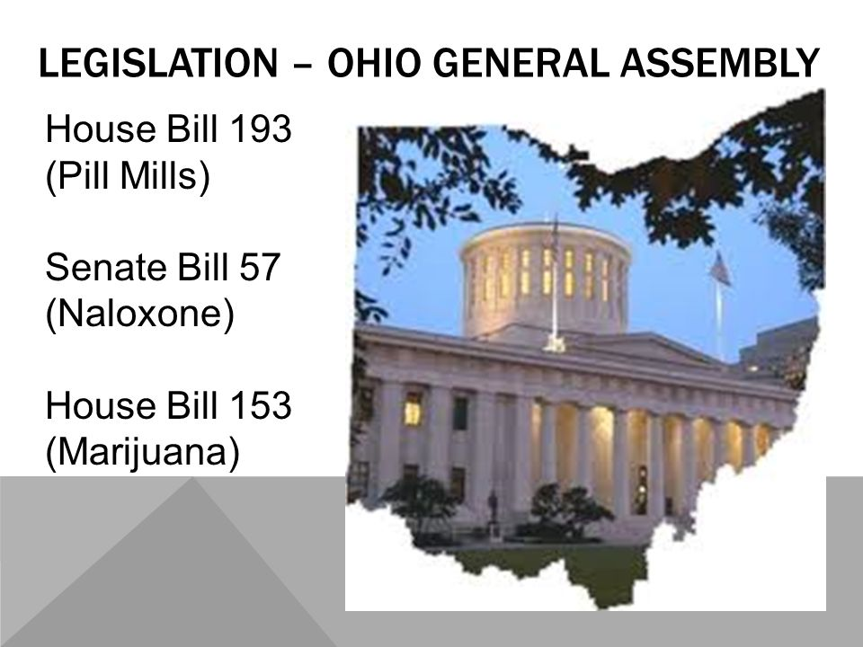 LEGISLATION – OHIO GENERAL ASSEMBLY House Bill 193 (Pill Mills) Senate Bill 57 (Naloxone) House Bill 153 (Marijuana)