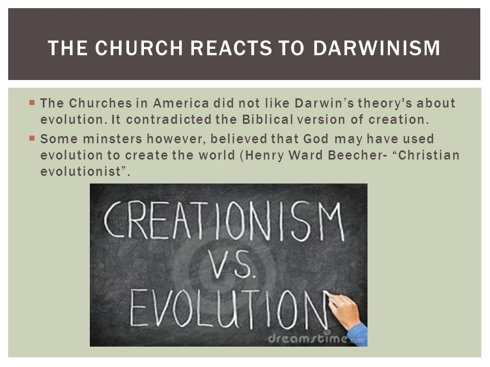  The Churches in America did not like Darwin's theory's about evolution. It contradicted the Biblical version of creation.  Some minsters however, b