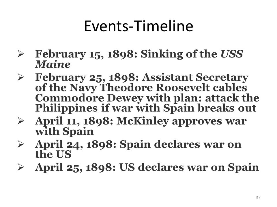37 Events-Timeline  February 15, 1898: Sinking of the USS Maine  February 25, 1898: Assistant Secretary of the Navy Theodore Roosevelt cables Commodore Dewey with plan: attack the Philippines if war with Spain breaks out  April 11, 1898: McKinley approves war with Spain  April 24, 1898: Spain declares war on the US  April 25, 1898: US declares war on Spain
