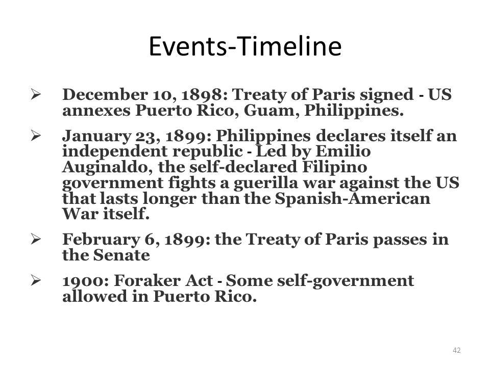 42 Events-Timeline  December 10, 1898: Treaty of Paris signed - US annexes Puerto Rico, Guam, Philippines.