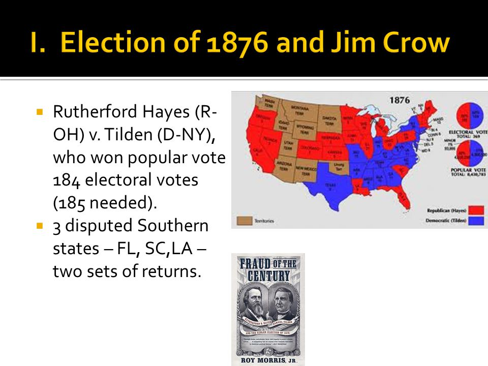  Rutherford Hayes (R- OH) v. Tilden (D-NY), who won popular vote 184 electoral votes (185 needed).
