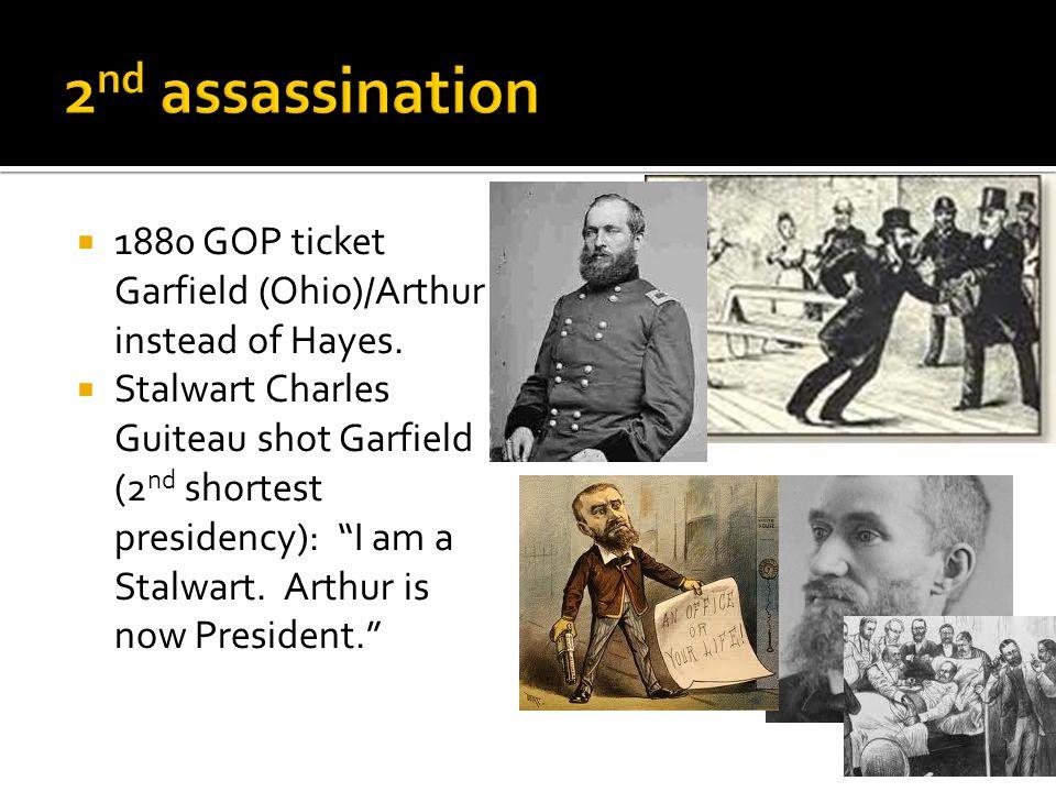 " 1880 GOP ticket Garfield (Ohio)/Arthur instead of Hayes.  Stalwart Charles Guiteau shot Garfield (2 nd shortest presidency): ""I am a Stalwart. Arth"
