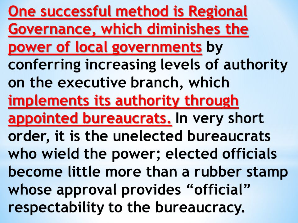 doles out federal money but only on condition that the plans are regional in scope and managed by regional governing bodies' 'The centerpiece of the Obama administration's regionalist policy to date has been the Sustainable Communities Initiative.