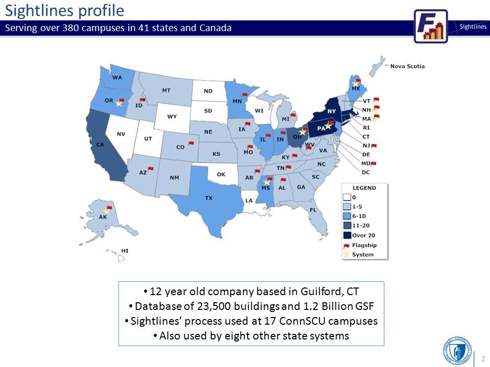 2 Sightlines profile Serving over 380 campuses in 41 states and Canada 12 year old company based in Guilford, CT Database of 23,500 buildings and 1.2 Billion GSF Sightlines' process used at 17 ConnSCU campuses Also used by eight other state systems