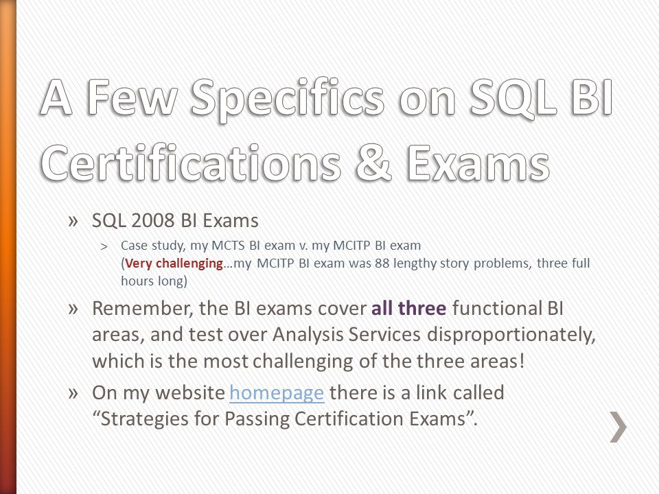 » SQL 2008 BI Exams ˃Case study, my MCTS BI exam v.