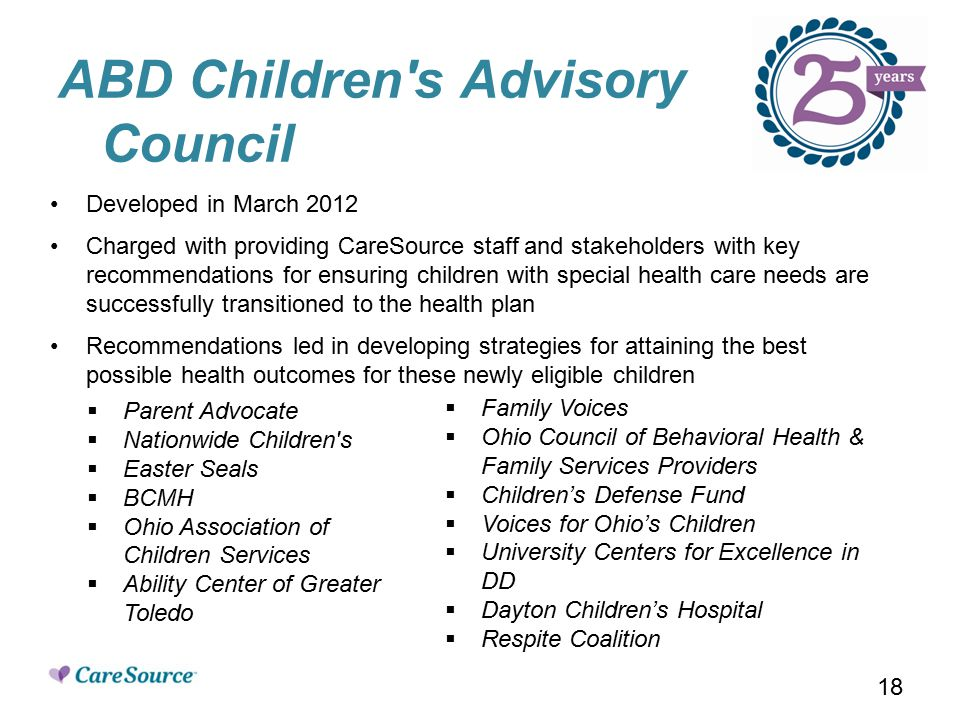 ABD Children s Advisory Council Developed in March 2012 Charged with providing CareSource staff and stakeholders with key recommendations for ensuring children with special health care needs are successfully transitioned to the health plan Recommendations led in developing strategies for attaining the best possible health outcomes for these newly eligible children  Parent Advocate  Nationwide Children s  Easter Seals  BCMH  Ohio Association of Children Services  Ability Center of Greater Toledo  Family Voices  Ohio Council of Behavioral Health & Family Services Providers  Children's Defense Fund  Voices for Ohio's Children  University Centers for Excellence in DD  Dayton Children's Hospital  Respite Coalition 18