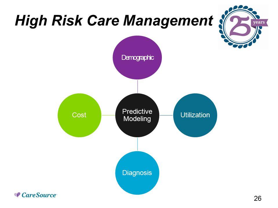 High Risk Care Management Predictive Modeling Demographic Utilization Diagnosis Cost 26