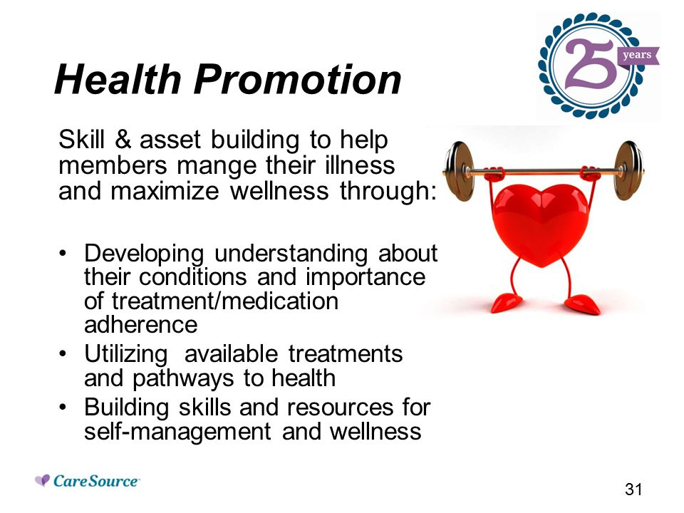 Health Promotion Skill & asset building to help members mange their illness and maximize wellness through: Developing understanding about their conditions and importance of treatment/medication adherence Utilizing available treatments and pathways to health Building skills and resources for self-management and wellness 31