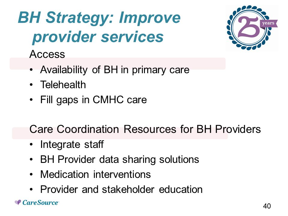 BH Strategy: Improve provider services Access Availability of BH in primary care Telehealth Fill gaps in CMHC care Care Coordination Resources for BH Providers Integrate staff BH Provider data sharing solutions Medication interventions Provider and stakeholder education 40
