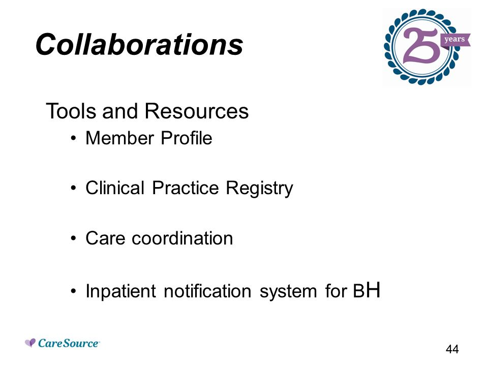 Collaborations Tools and Resources Member Profile Clinical Practice Registry Care coordination Inpatient notification system for B H 44