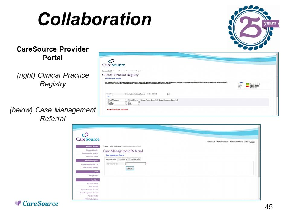 Collaboration CareSource Provider Portal (right) Clinical Practice Registry (below) Case Management Referral 45