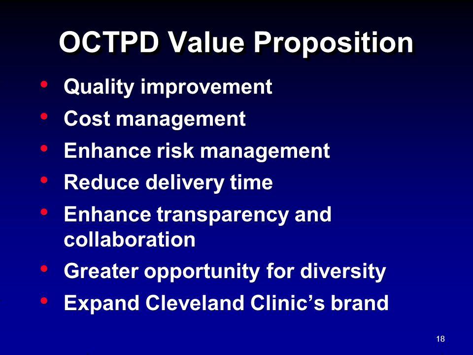 OCTPD Value Proposition Quality improvement Quality improvement Cost management Cost management Enhance risk management Enhance risk management Reduce