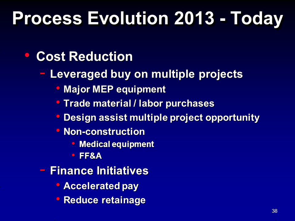 Process Evolution 2013 - Today Cost Reduction Cost Reduction - Leveraged buy on multiple projects Major MEP equipment Major MEP equipment Trade materi
