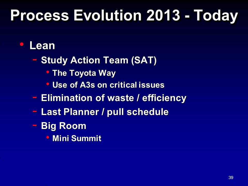 Process Evolution 2013 - Today Lean Lean - Study Action Team (SAT) The Toyota Way The Toyota Way Use of A3s on critical issues Use of A3s on critical