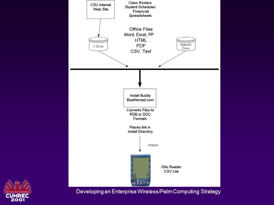 Developing an Enterprise Wireless/Palm Computing Strategy Access to multiple file types Use InstallBuddy from BlueNomad.com Converts files to PDA readable format Provides free PDA Readers Can sync one time or always Users Send To , Drag/Drop, Toolbars to move files