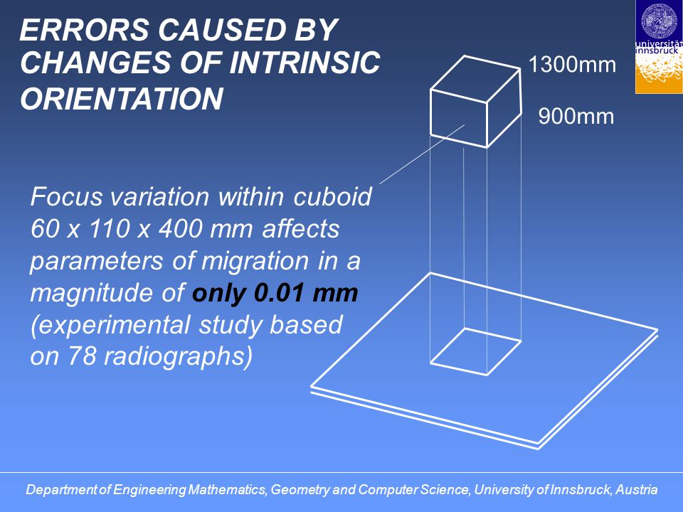 COMPENSATION OF ERRORS by use of an approximative intrinsic orientation bound to pelvic contours (based on study of 78 random x-rays) by use of variable reference planes passing through the x-ray focus Department of Engineering Mathematics, Geometry and Computer Science, University of Innsbruck, Austria