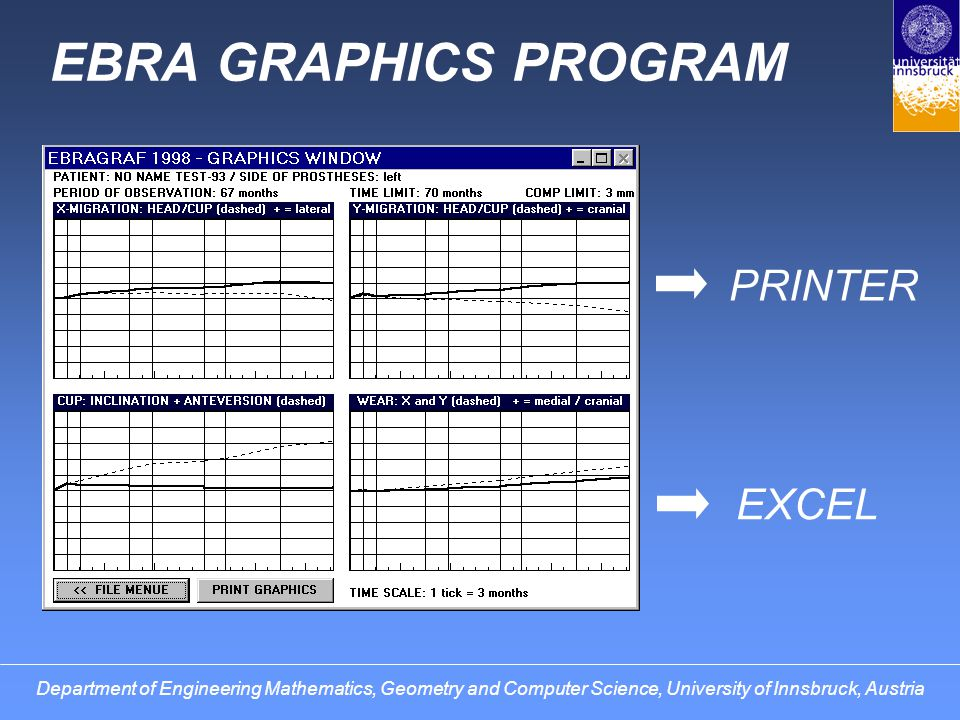 EBRA GRAPHICS PROGRAM PRINTER EXCEL Department of Engineering Mathematics, Geometry and Computer Science, University of Innsbruck, Austria