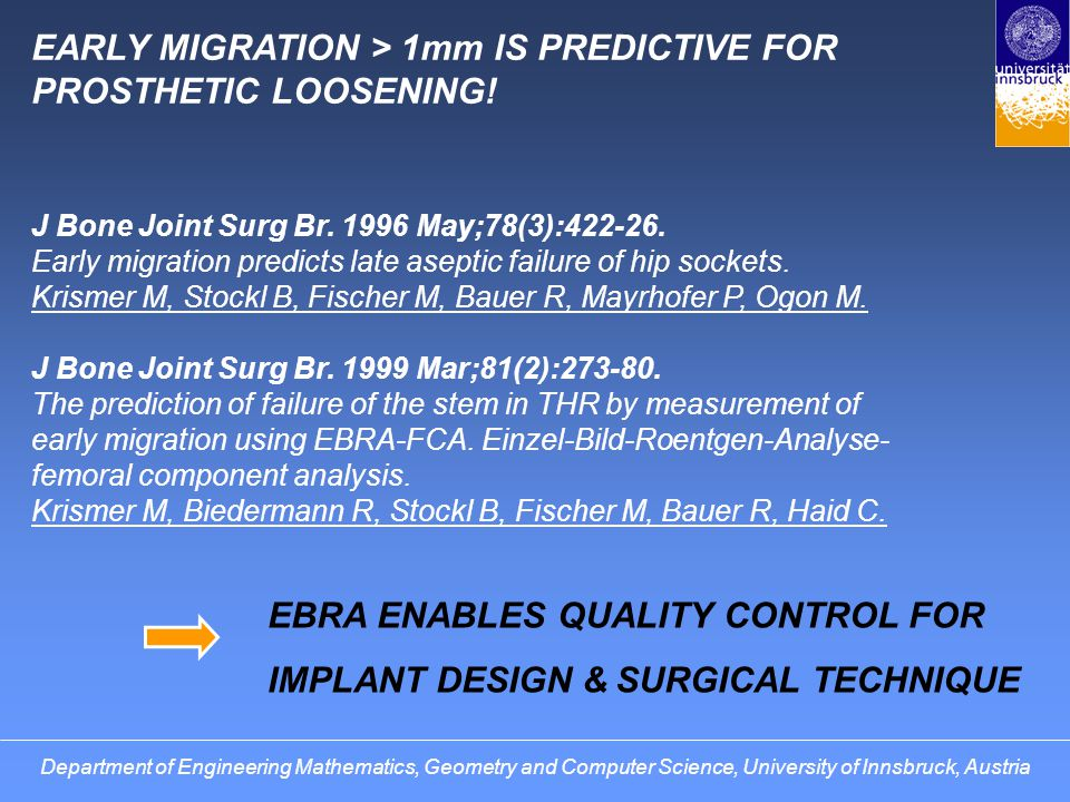 Department of Engineering Mathematics, Geometry and Computer Science, University of Innsbruck, Austria EARLY MIGRATION > 1mm IS PREDICTIVE FOR PROSTHETIC LOOSENING.