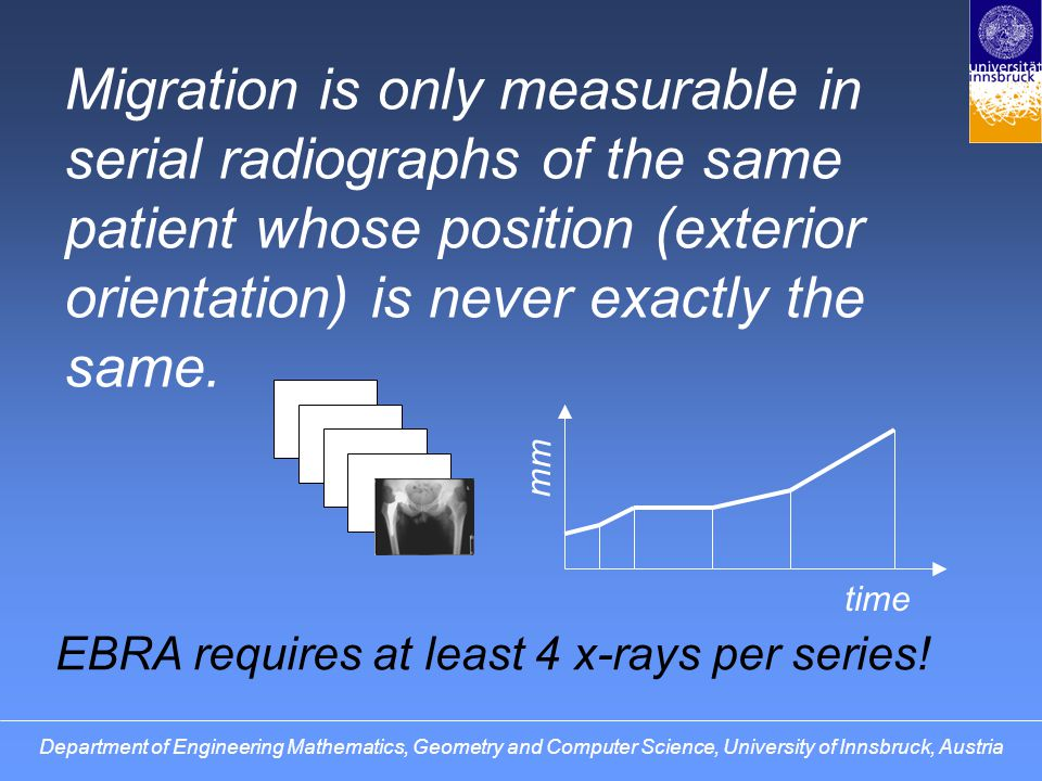 Migration is only measurable in serial radiographs of the same patient whose position (exterior orientation) is never exactly the same.