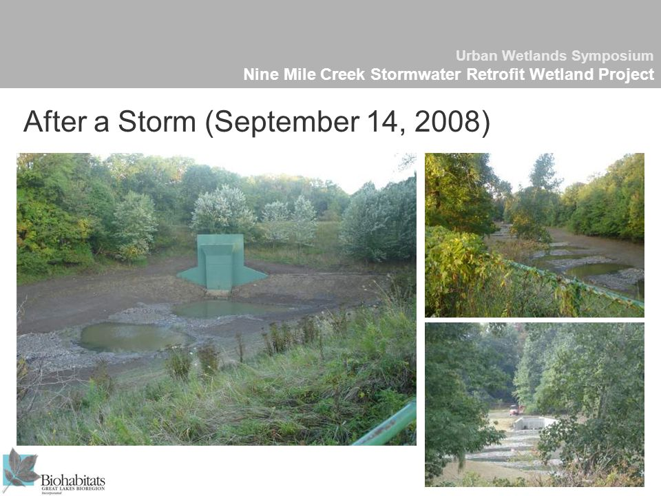 Urban Wetlands Symposium Nine Mile Creek Stormwater Retrofit Wetland Project After a Storm (September 14, 2008)
