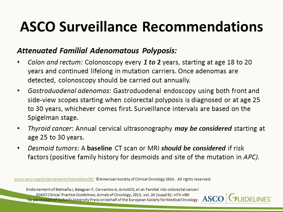 ASCO Surveillance Recommendations Attenuated Familial Adenomatous Polyposis: Colon and rectum: Colonoscopy every 1 to 2 years, starting at age 18 to 20 years and continued lifelong in mutation carriers.