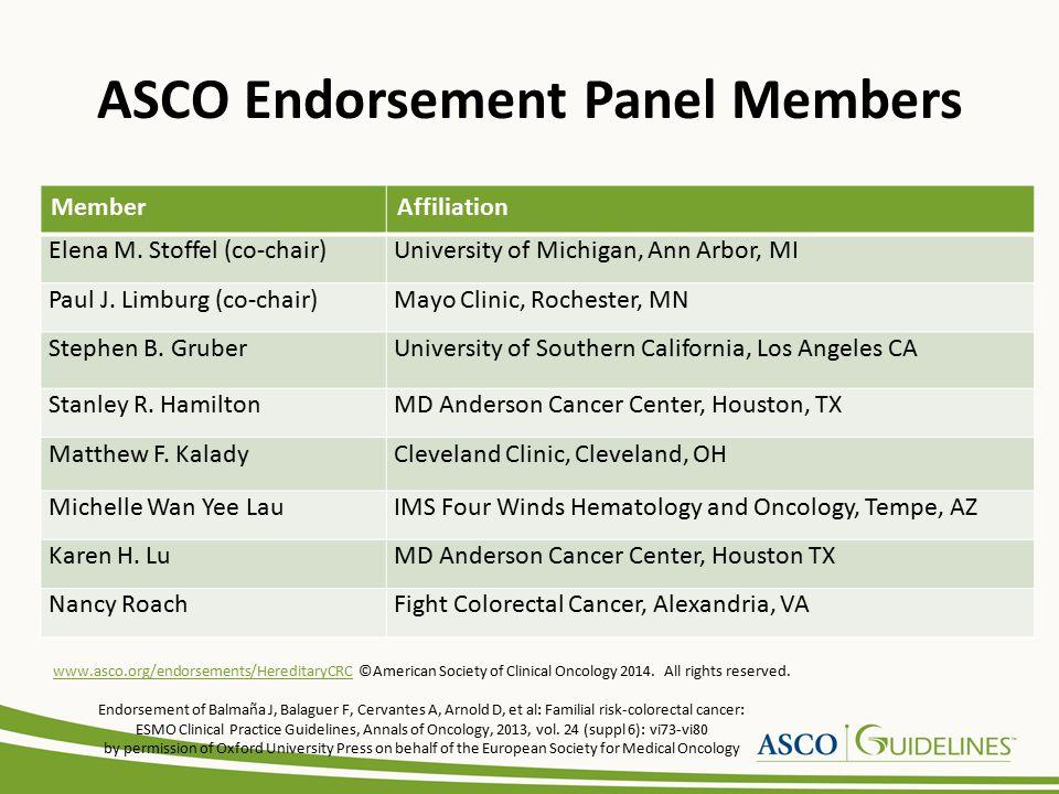 ASCO Endorsement Panel Members MemberAffiliation Elena M. Stoffel (co-chair)University of Michigan, Ann Arbor, MI Paul J. Limburg (co-chair)Mayo Clini