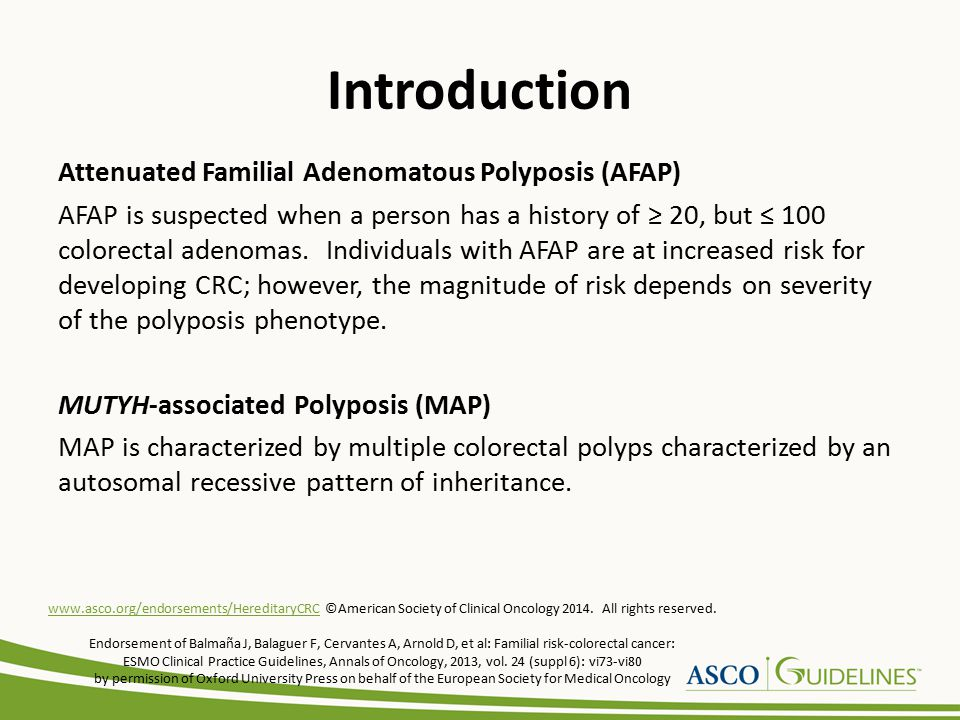 Introduction Familial CRC Type X Study of families with Amsterdam criteria (three relatives with CRC, spanning two generations, with one case diagnosed at age < 50 years) positive-MMR mutation negative status, referred to commonly as Familial CRC Type X, confirms that these families are at increased risk for CRC, with no increase in risk for extracolonic cancers.