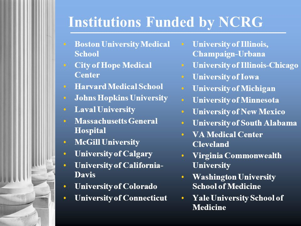 Institutions Funded by NCRG Boston University Medical School City of Hope Medical Center Harvard Medical School Johns Hopkins University Laval University Massachusetts General Hospital McGill University University of Calgary University of California- Davis University of Colorado University of Connecticut University of Illinois, Champaign-Urbana University of Illinois-Chicago University of Iowa University of Michigan University of Minnesota University of New Mexico University of South Alabama VA Medical Center Cleveland Virginia Commonwealth University Washington University School of Medicine Yale University School of Medicine