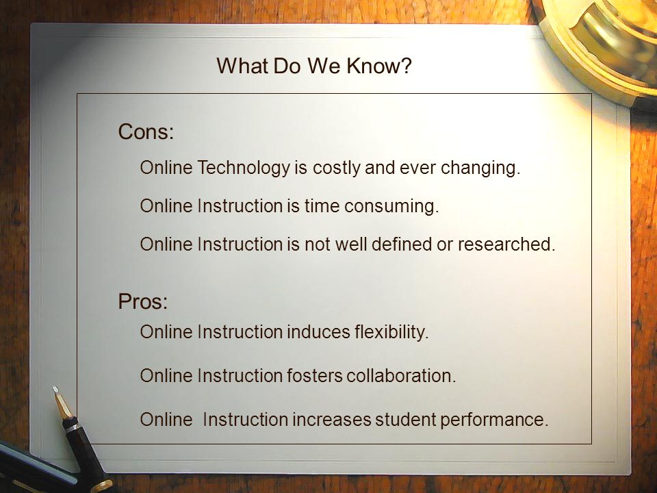 What Do We Know. Online Technology is costly and ever changing.