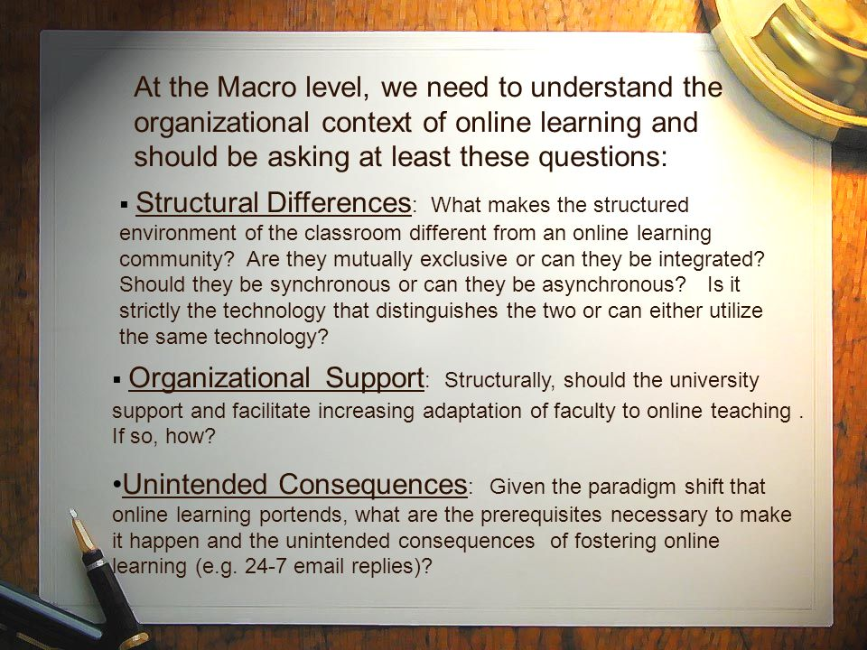  Structural Differences : What makes the structured environment of the classroom different from an online learning community.