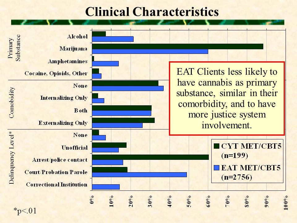 Clinical Characteristics Primary Substance Comobidity Delinquency Level* *p<.01 EAT Clients less likely to have cannabis as primary substance, similar in their comorbidity, and to have more justice system involvement.