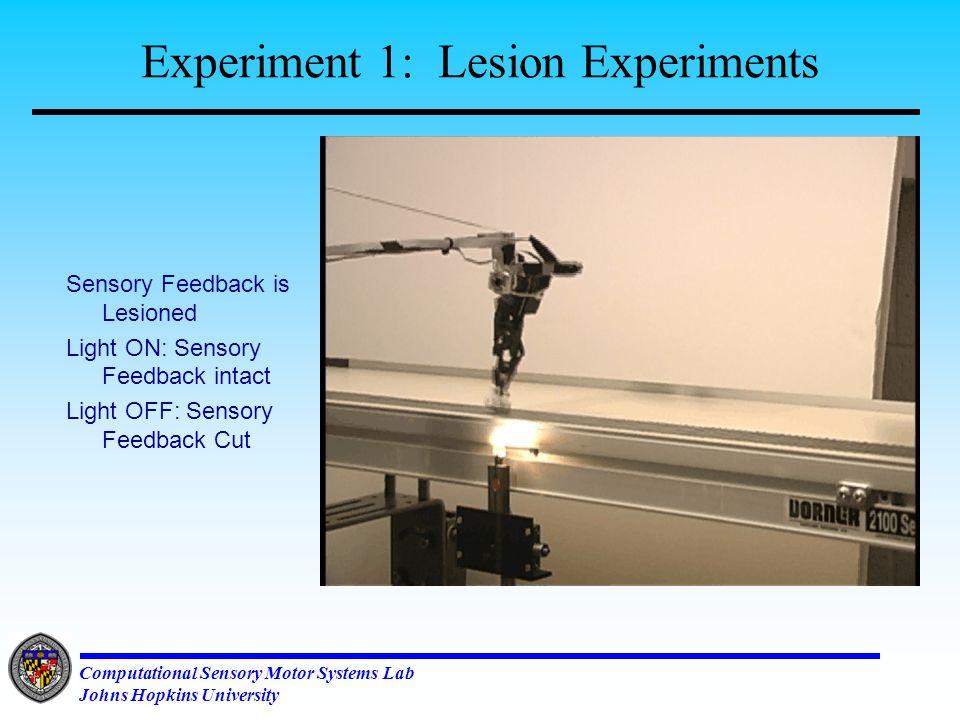 Computational Sensory Motor Systems Lab Johns Hopkins University Experiments