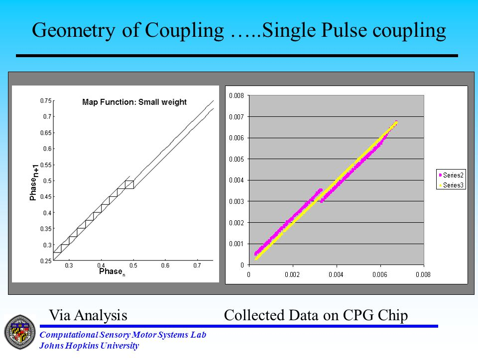 Computational Sensory Motor Systems Lab Johns Hopkins University Membrane Equation and Spike Coupling Membrane equations Weight of Impulse  Phase update due to coupling Direct Coupling Spike Coupling