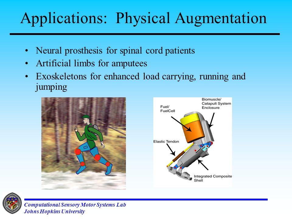 Computational Sensory Motor Systems Lab Johns Hopkins University Applications: Biomorphic Robots (IS Robotics, Inc.)(Star Wars, Lucas Films)