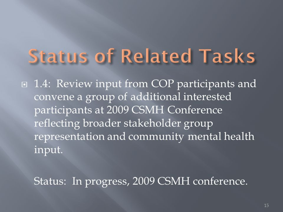  1.4: Review input from COP participants and convene a group of additional interested participants at 2009 CSMH Conference reflecting broader stakeho