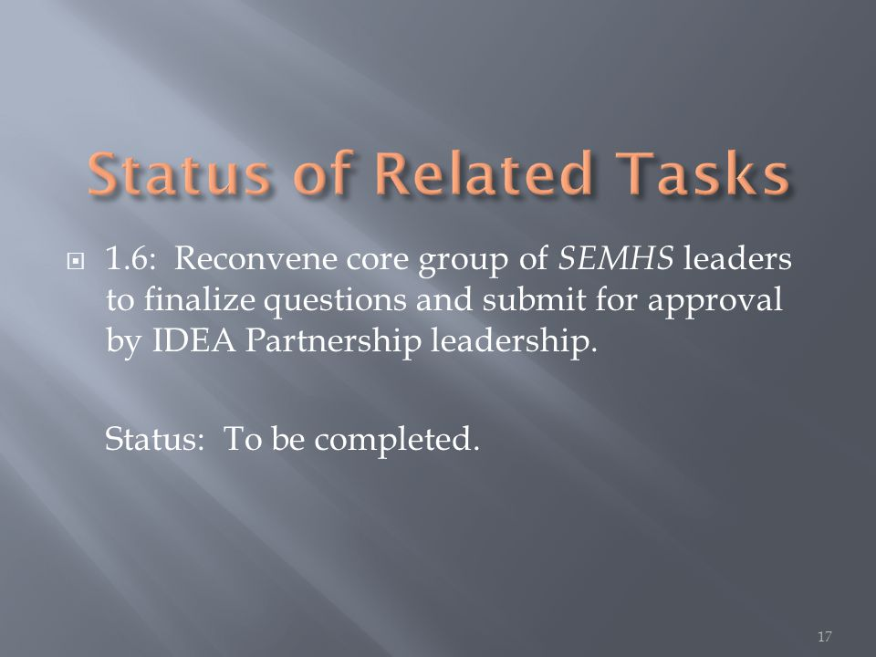  1.6: Reconvene core group of SEMHS leaders to finalize questions and submit for approval by IDEA Partnership leadership.