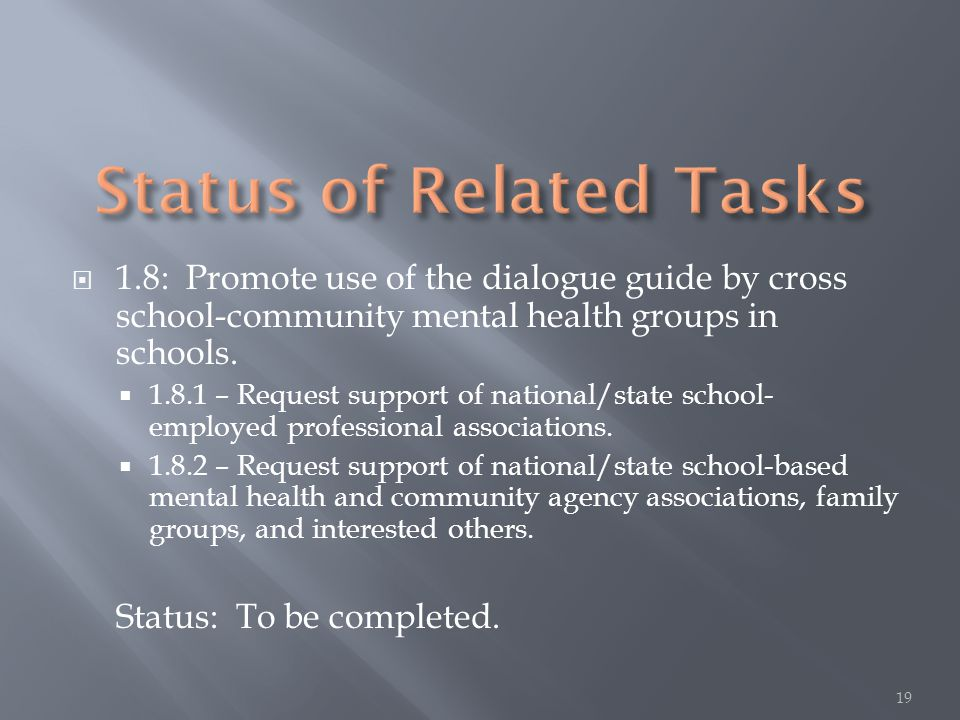  1.8: Promote use of the dialogue guide by cross school-community mental health groups in schools.