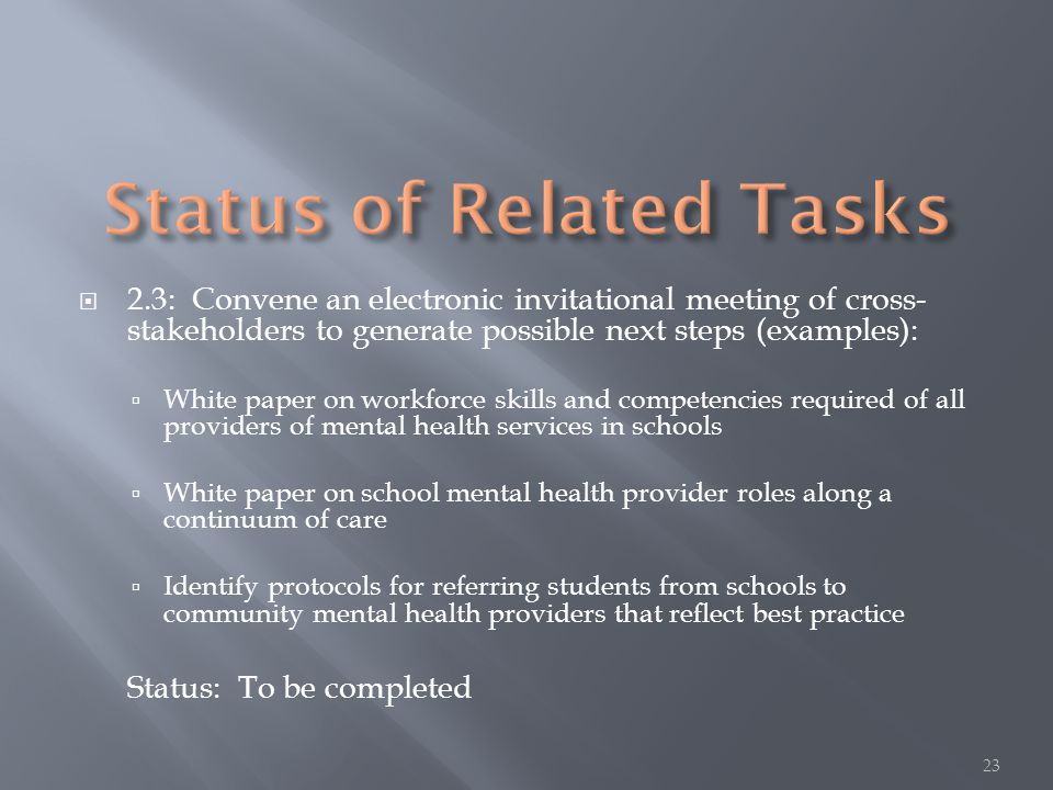  2.3: Convene an electronic invitational meeting of cross- stakeholders to generate possible next steps (examples):  White paper on workforce skills and competencies required of all providers of mental health services in schools  White paper on school mental health provider roles along a continuum of care  Identify protocols for referring students from schools to community mental health providers that reflect best practice Status: To be completed 23