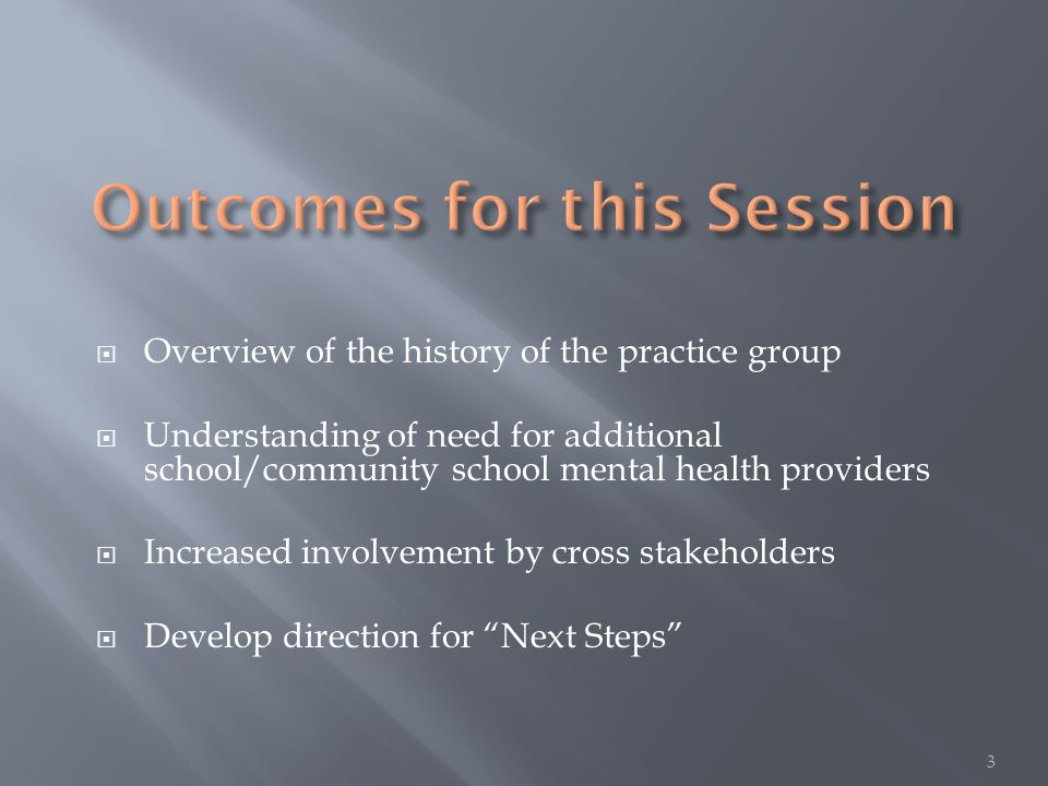  Overview of the history of the practice group  Understanding of need for additional school/community school mental health providers  Increased involvement by cross stakeholders  Develop direction for Next Steps 3