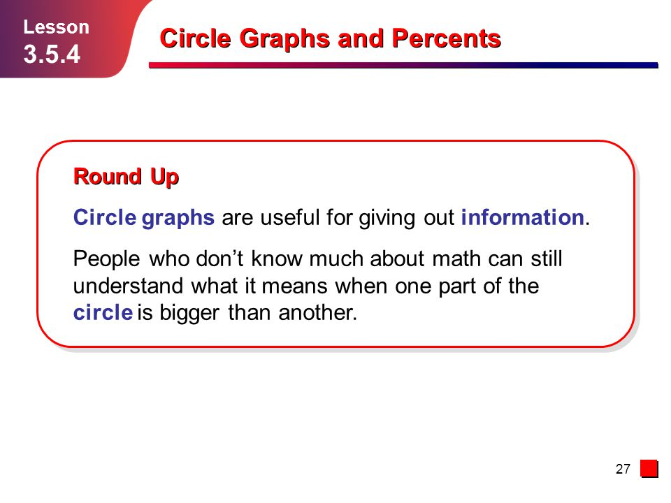 27 Round Up Circle graphs are useful for giving out information.