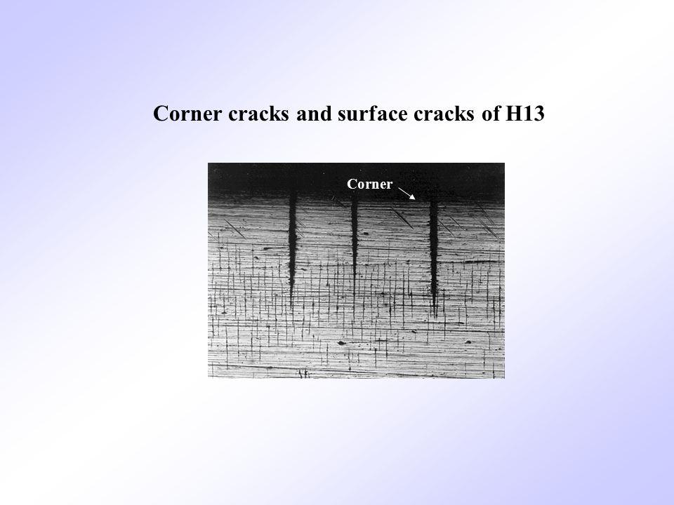 Corner Corner cracks and surface cracks of H13