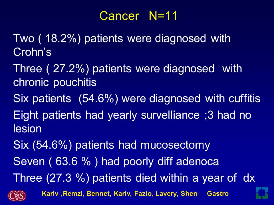 Cancer N=11 Two ( 18.2%) patients were diagnosed with Crohn's Three ( 27.2%) patients were diagnosed with chronic pouchitis Six patients (54.6%) were diagnosed with cuffitis Eight patients had yearly survelliance ;3 had no lesion Six (54.6%) patients had mucosectomy Seven ( 63.6 % ) had poorly diff adenoca Three (27.3 %) patients died within a year of dx Kariv,Remzi, Bennet, Kariv, Fazio, Lavery, Shen Gastro