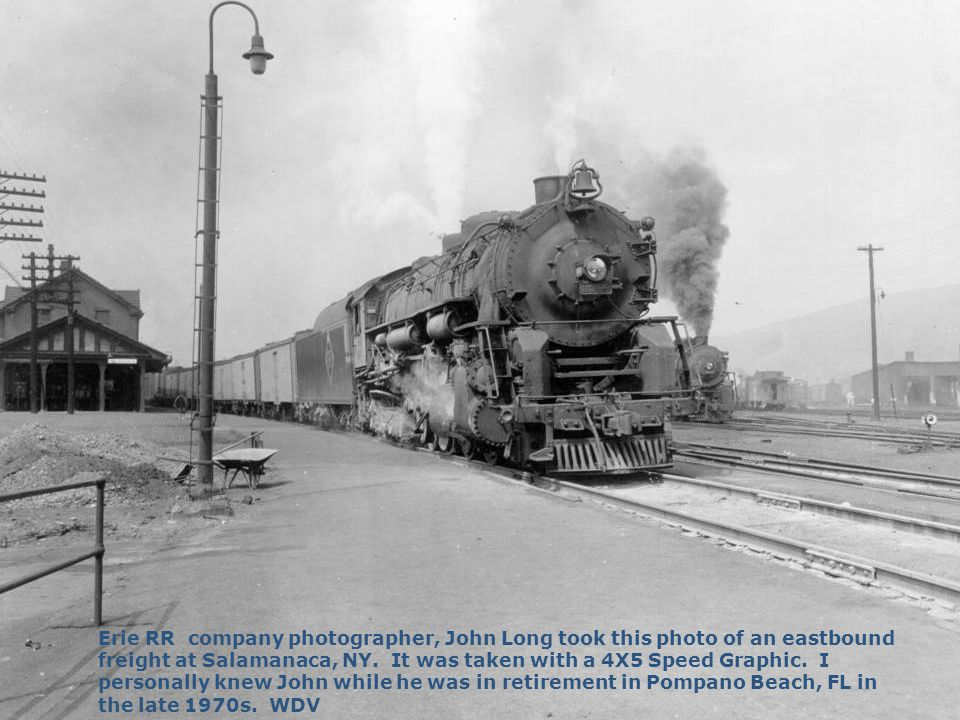 Erie RR company photographer, John Long took this photo of an eastbound freight at Salamanaca, NY.