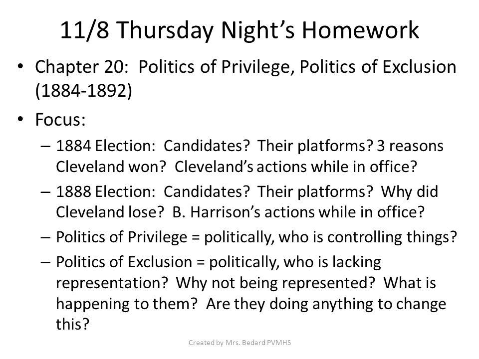 1860-1900 Presidents 1861-1865 Lincoln 1869-1877 Grant 1877-1881 Hayes 1881 Garfield 1881-1885 Arthur 1885-1889 Cleveland 1889-1893 B.