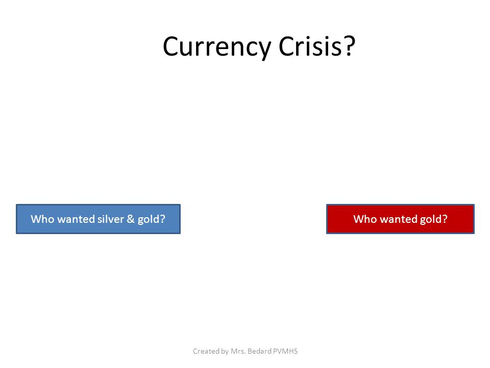 Currency Crisis Who wanted silver & gold Who wanted gold Created by Mrs. Bedard PVMHS